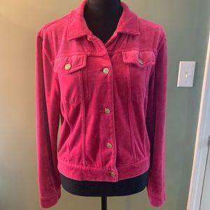 BCBGMaxAzria pink velour jacket